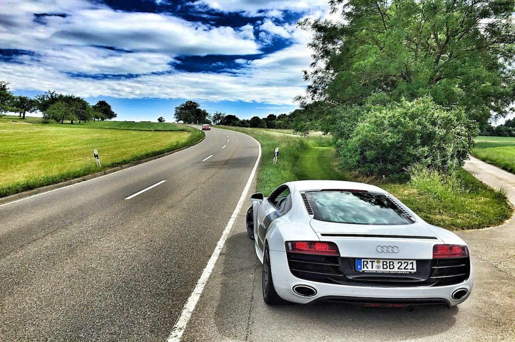 Audi R8 on the side of the road